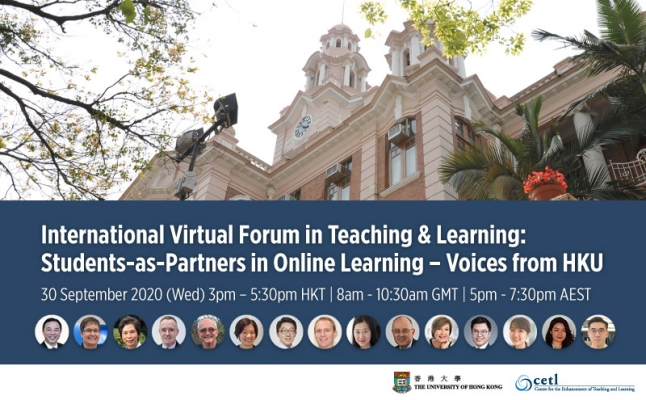 International Virtual Forum in Teaching and Learning: Students-as-Partners in Online Learning – Voices from HKU
